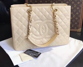 AUTHENTIC CHANEL QUILTED CAVIAR GST GRAND SHOPPING TOTE BAG BEIGE GHW  image 10