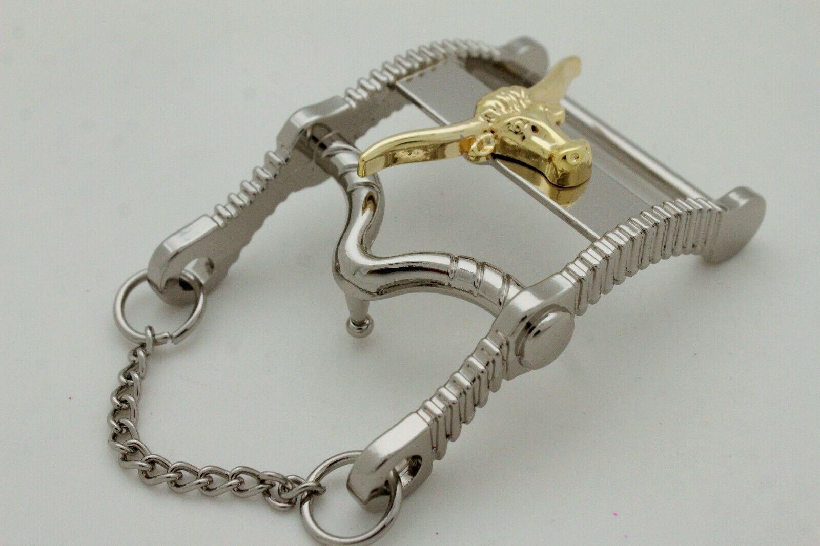 Herren Freizeit Western Cowboy Gürtelschnalle Silber Metall Lang Horn Kuh Gold image 7