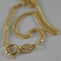 SOLID 18K YELLOW GOLD CHAIN NECKLACE WITH EAR LINK 15.75 INCHES, MADE IN ITALY image 3