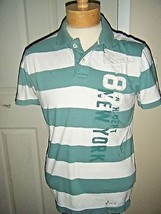 AEROPOSTALE MENS COTTON GREEN/WHITE STRIPE POLO SHIRT SIZE M - $16.44