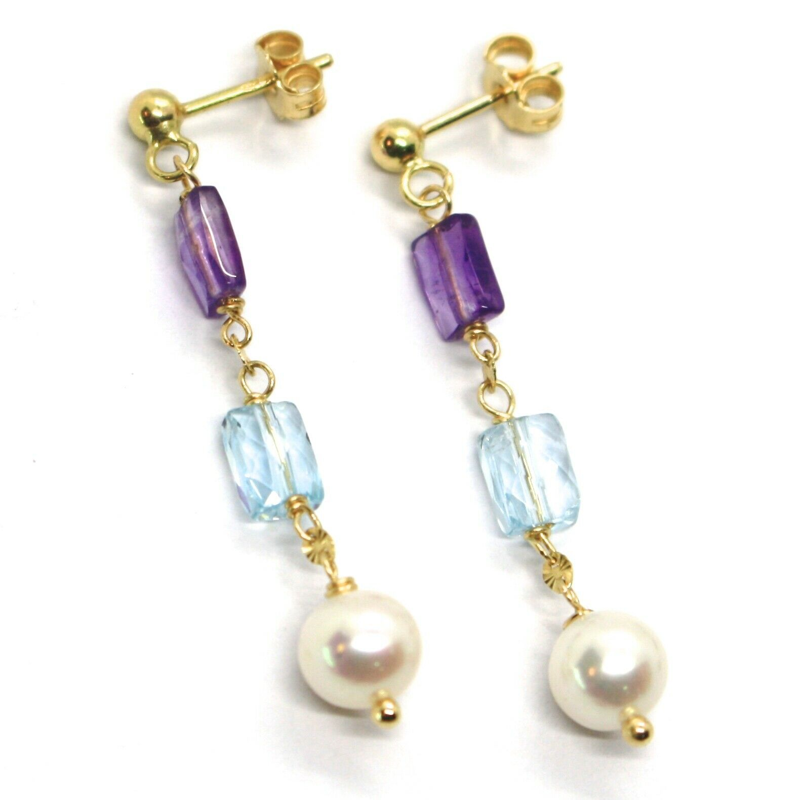 18K YELLOW GOLD PENDANT EARRINGS, PEARL, BLUE TOPAZ, AMETHYST, 1.54 INCHES
