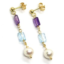 18K YELLOW GOLD PENDANT EARRINGS, PEARL, BLUE TOPAZ, AMETHYST, 1.54 INCHES image 1