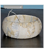Cream and Silver Metallic Poinsettia Winter Fabric Bangle Wood Wooden Do... - $10.00