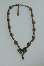 Vintage Robert Rose Brown Glass Bead Pendant Choker Necklace  - $34.65