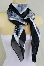New Women Black White Nautical King Crown Tassel Rose Flower Silk Fashion Scarf - $17.63