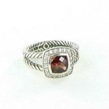 David Yurman Petite Albion Pyrope Garnet Diamond Ring 0.18cts Sterling S... - $528.65