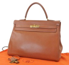 Authentic HERMES Kelly 35 Brown Calfskin Leather Hand Bag Purse #25262 - $3,900.00