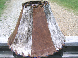 Large Western Leather Cowhide Lamp Shade Brown 0972 bz - $169.98