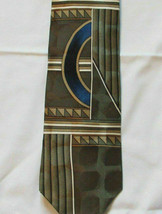 Necktie EUC ZYLOS Men's Neck Tie Silk Tan Brown on Green Geometric - $12.00