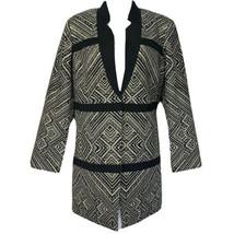 Black Label by Chicos Black Gold Jacquard Blazer Top Size 1 - $59.39