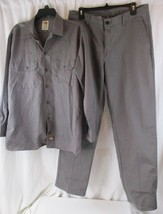 Dickies Flex Button Up Work Shirt Mens M Long Sleeve & Pants 34x32 - $49.49