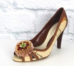 Enzo Angiolini Mujer Zapatos Punta Abierta Tacones Tela Cuero Talla 6.5 - $18.48