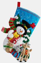 Bucilla Felt Stocking Kit, Forest Friends 18in embroidery XMAS, Christmas - $30.49