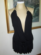 Swank Halter Top Black Strappy Womens Junior Large NWT Q8829 - $24.99