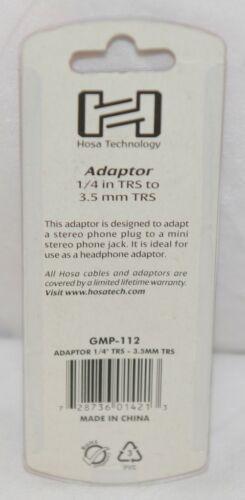 Hosa Technology GMP112 Adaptor Quarter Inch TRS To Three And Half Same