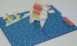Lovepop LP2598 Happy Birthday Llama Pop Up Card White Envelope Cellophane wrap image 4