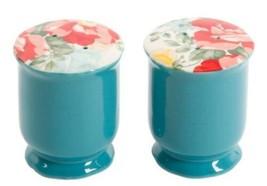 """The Pioneer Woman ~ """"Vintage Floral"""" ~ Stoneware ~ Teal ~ Salt & Pepper ... - $22.80"""