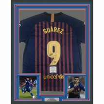 FRAMED Autographed/Signed LUIS SUAREZ 33x42 FC Barcelona Jersey Beckett ... - $499.99