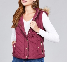 Plum Puffer Vest, Plum Quilted Vest, Quilted Vest with Faux Fur Hood