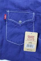 NEW LEVI'S MEN'S LINEN LONG SLEEVE BUTTON UP CASUAL DRESS SHIRT BLUE 8151400 image 5