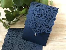 Dake Blue Pocket Style Laser Cut Invitaiton Cards,50pcs Wedding Invitations - $66.40
