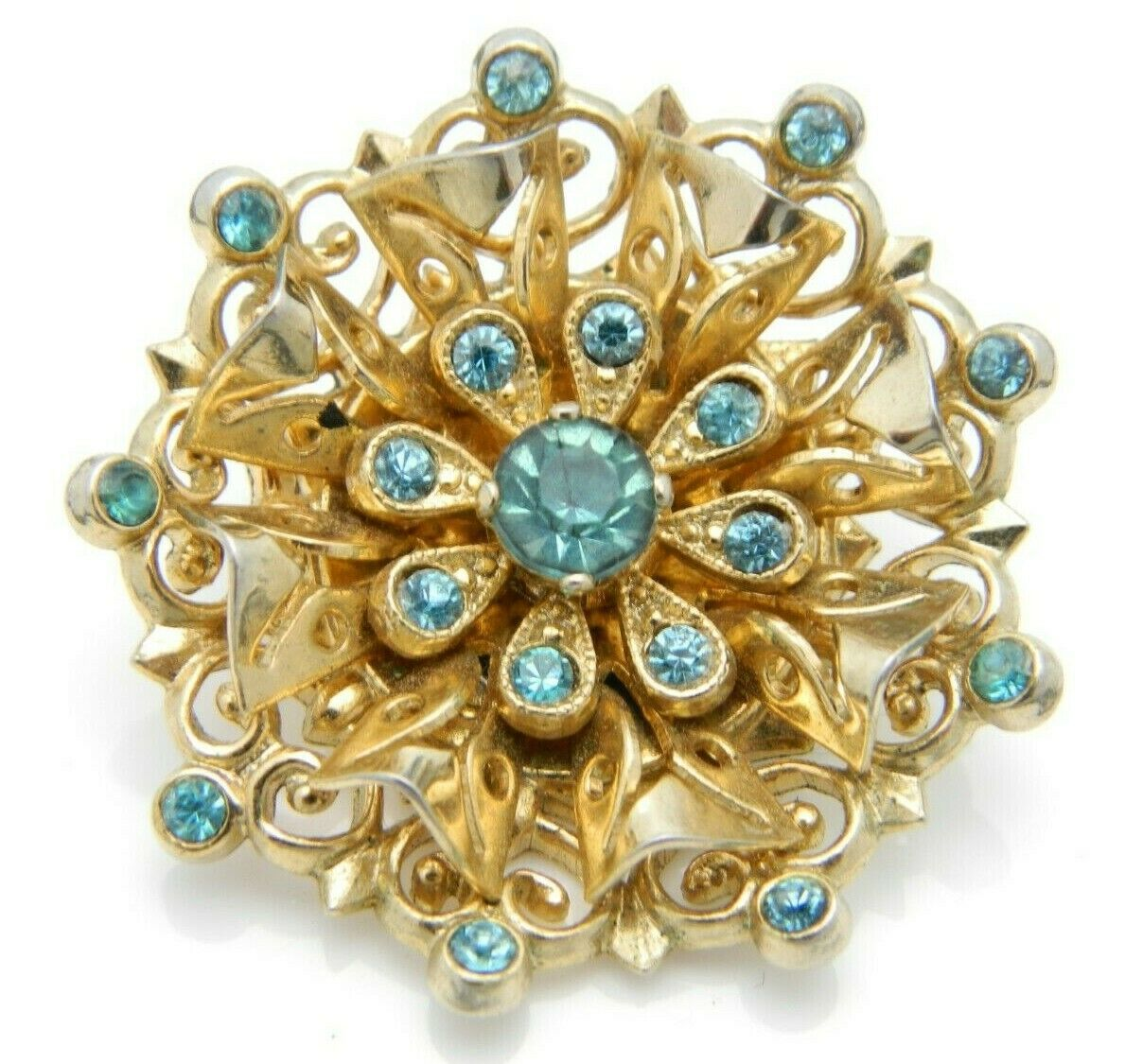 Coro Blue Rhinestone Filigree Medallion Gold Tone Vintage Pin Brooch