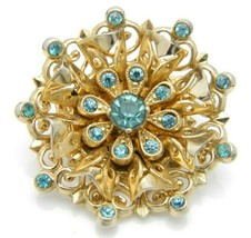 Coro Blue Rhinestone Filigree Medallion Gold Tone Vintage Pin Brooch image 1