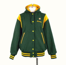 Vtg 1970s Varsity Letter Jacket Green Wool Zip Split Hood Cracker Jack W... - $44.54