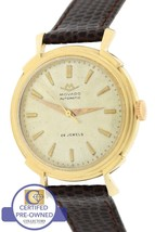 Vintage Movado 28 Jewels Solid 14K Yellow Gold Automatic Brown Leather Watch - $1,049.31