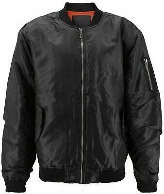 Men's Premium Water Resistant Zip Up Flight Black Bomber Jacket w/ Defect - 3XL