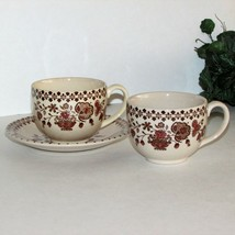 Johnson Bros Old Granite Jamestown Brown 2 Coffee Cups & Saucer Jb England Cup - $9.99