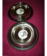 2x Bergan Stainless Steel Non-Skid/Non-Tip Pet 2-Cup Bowls With Ridges. New - $9.89