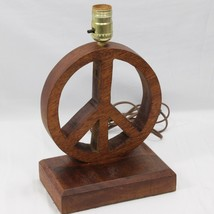 Peace Symbol Sign Handmade Wooden Lamp - $49.00