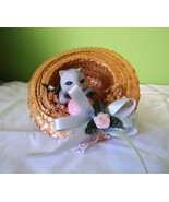 Vintage Cat in the Hat figurine, Straw looking hat, cute decor  - $11.25