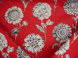 7-1/8Y BRAEMORE TEXTILES RED PRINTED DAHLIA FLORAL DRAPERY UPHOLSTERY FA... - $169.29