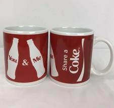 Coca Cola Coffee Tea Cups Share A Coke 2 Mug Set 2016 You And Me - $29.69