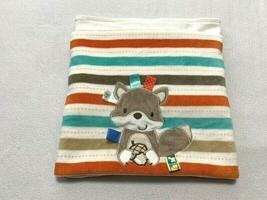 Taggies Aqua Tan Orange Gray Stripe Fox Squirrel Acorn Baby Blanket Ribbon Tags - $29.99