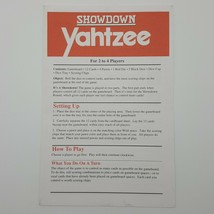 Showdown Yahtzee Rules Instructions Manual Booklet Replacement Game Parts 4202  - $3.99