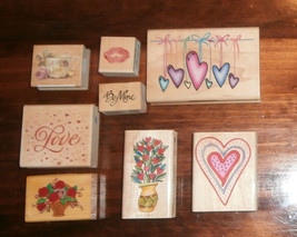 8 Assorted Heart Rubber Stamps Lot Valentine Rubber Stampede Inkadinkado... - $14.50