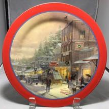"Thomas Kinkad 9"" salad desert plate with red rim A WINTER'S WALK Maud Borup - $6.39"