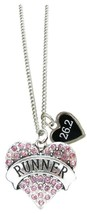 Custom Runner Pink Silver Necklace Jewelry Choose Distance 5K 10K 15K 13.1 26.2 - $14.24