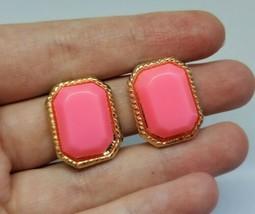 Vintage Neon Pink Rectangle Plastic Stone Stud Clip On Earrings Japan - $8.00