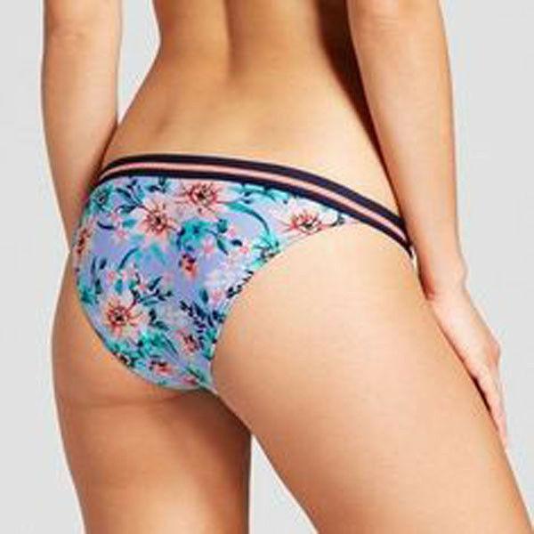 Xhilaration Cheeky Bikini Bottom Sz XS Blue Floral Swim Periwinkle Elastic Trim