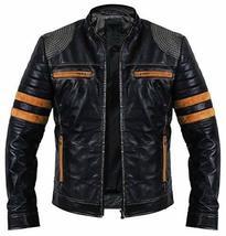 Cafe Racer Retro Black Vintage Distressed Biker Quilted Leather Jacket image 1