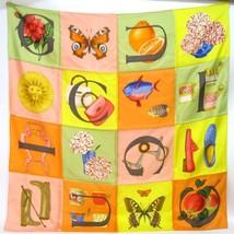 GUCCI Scarf Stole Silk 100% Yellow Orange Green Pink Woman Luxury Auth R... - $214.74