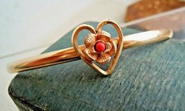 Vintage Designer KREMENTZ 14k Gold Overlay Coral Heart Rose Bracelet Est... - $24.00