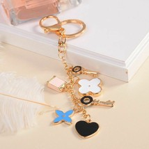 Roses Flower Heart Type Key Chain Bag Purse Charm Ring Crystals Holder K... - $7.97
