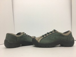 Keen Briggs Green Tan Leather Women's Lace Up Comfort Walking Shoes Size 5 M image 2