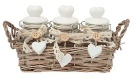 3 X Hearts Small Clear Glass Jar With Wicker Backet Cream Beige - $34.04