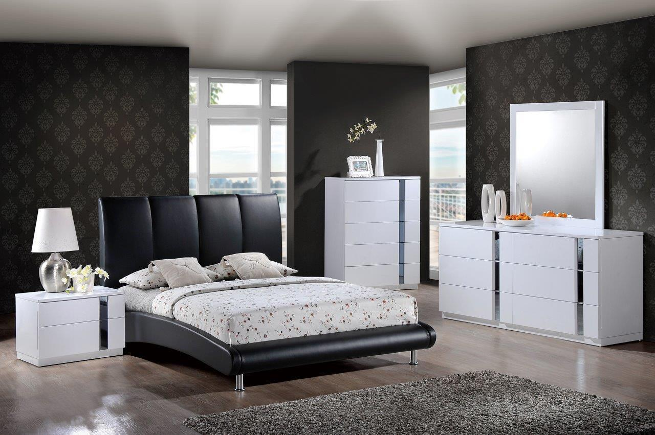 Global Furniture 8272-BLACK/Jody White & Black High Finish Queen Bedroom Set 5Pc